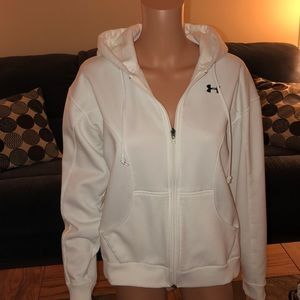 Under Armour white zip up hoodie w front pockets